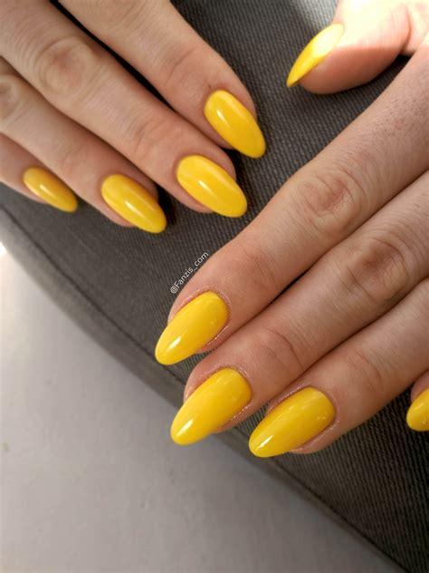 bright yellow gelpolish summer nails halo  madam