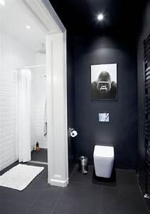 salle de bain noire marron et grise comment l39amenager With salle de bain design avec peinture marine