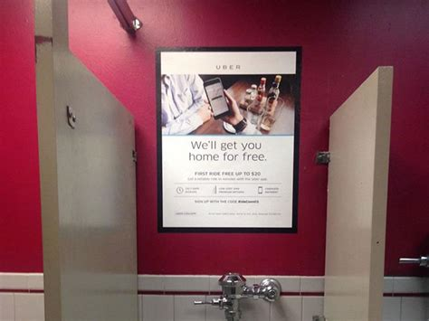 uber advertises in bar and restaurant restrooms