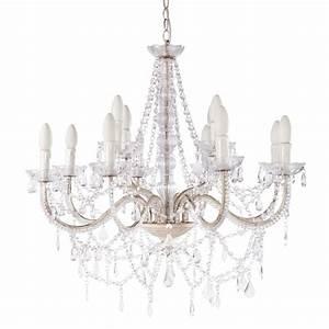 lustre a pampilles 12 branches en metal blanc d 73 cm With lustres maison du monde