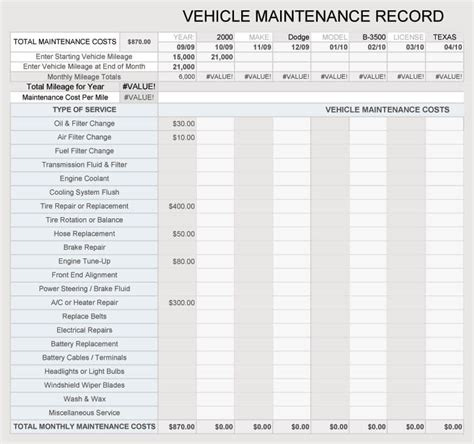 vehicle maintenance log service sheet templates