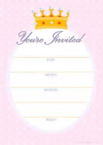 free printable invitations free invitations for a princess birthday