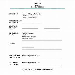 Blank job resume format ahoy template printable pertaining for Blank resume template to fill in