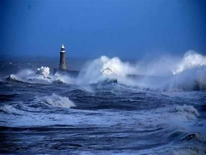 Rough Sea Choppy Lighthouse Ocean Waves Background