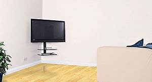 corner tv mount with shelves | New Apartment | Pinterest ...