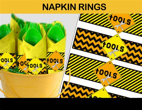 construction tools napkin wrappers instant