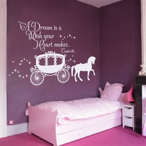 stickers chambre bebe fille fee a dreams is a wish your makes cinderella wall decal pumpkin cart decal room decal