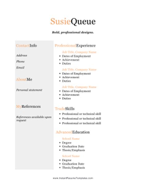 color resume with tagline template
