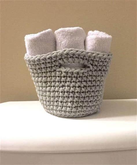 bathroom towel hanging ideas 46 free amazing crochet baskets for storage diy to