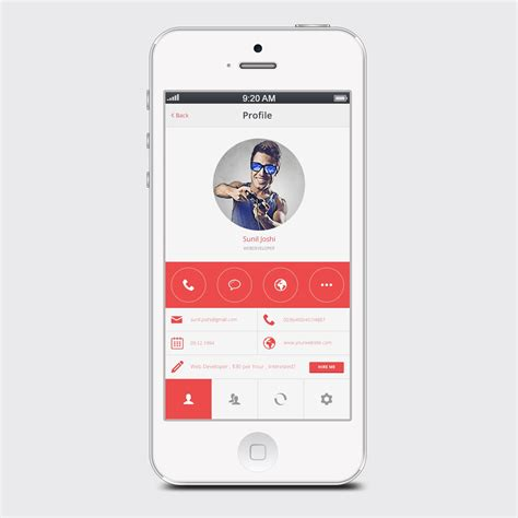clean white user profile mobile app psd mobile app web