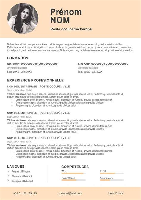 modele de cv couleur gratuit  telecharger creer cv word