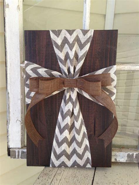 rustic burlap cross wood sign wall decor ready