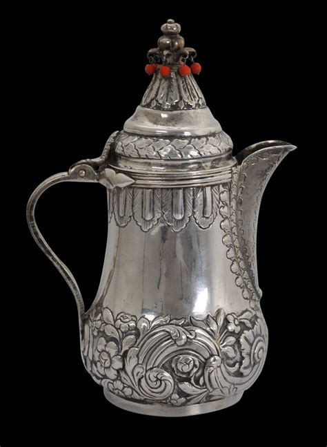 History of ottoman empire : Ottoman Silver Coffee Pot with Coral - Michael Backman Ltd