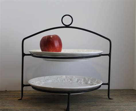 vintage wrought iron  tiered pie stand plate holder display etsy tiered pie stand