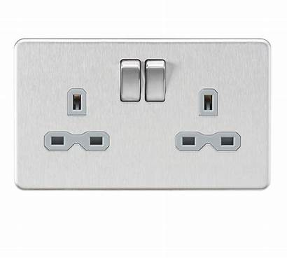 Socket 13a Screwless Dp Switched Chrome Brushed