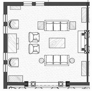 Imposing Living Room Architecture Plan With Furniture