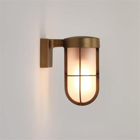 7850 cabin outdoor wall light frosted glass antique brass