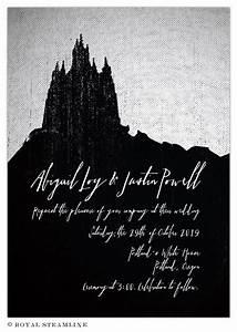 dark and debonair invitations for gothic weddings With gothic castle wedding invitations