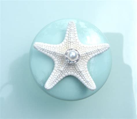 Glass Starfish Cabinet Knobs by Knobs Sea Glass Mint Seashell Starfish Knobs With Swarovski