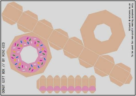 food papercraft template papermau donut gift box paper model for by minieco