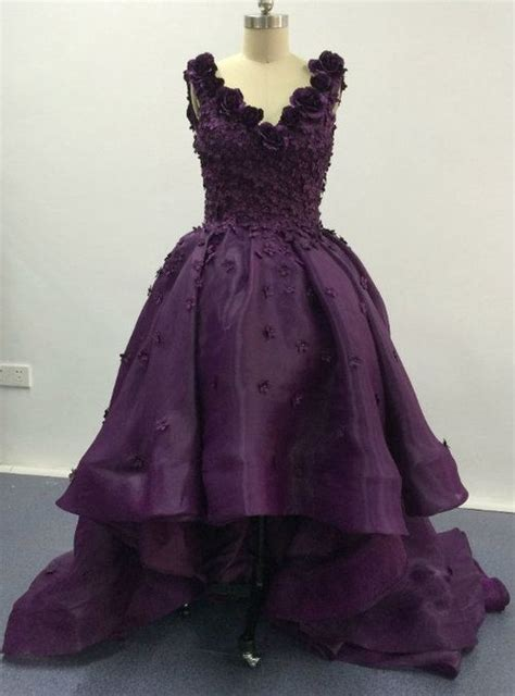 elegant purple deep  neck appliqued floral short front