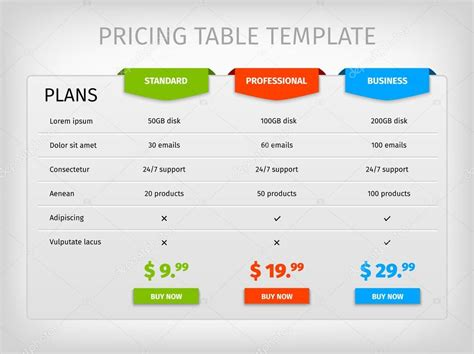 Comparison Table Template Html by Colorful Comparison Pricing Table Template Stock Vector