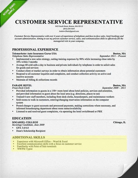 Skill Section Of Resume by Customer Service Skills Section On The Hunt Customer