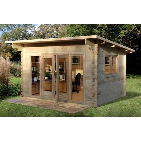 shedswarehousecom hanbury log cabins  installed    log cabin   pent roof