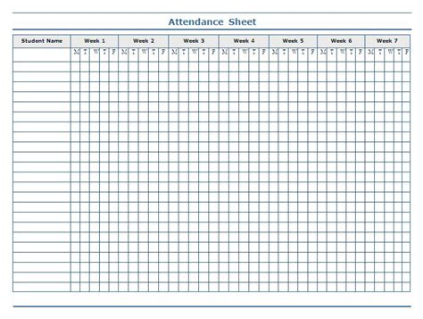 Example attendance template