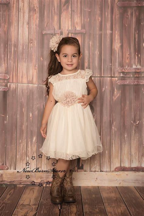 ivory beige chiffon flower girl dress rustic wedding