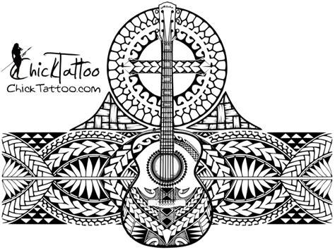 Polynesian Style Guitar Cross ½ Sleeve My Chicktattoo