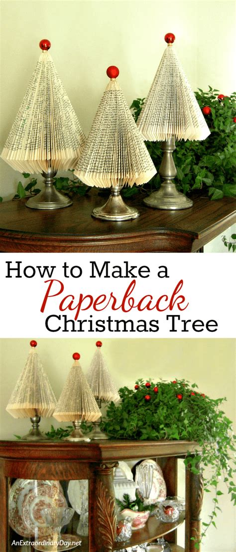 how to make folded paperback book christmas trees a