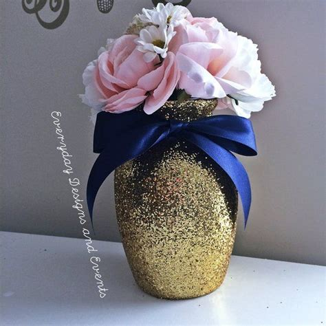 Navy and Gold Centerpieces vases wedding centerpieces