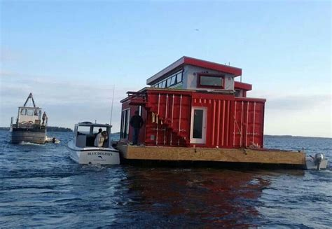 Boat In A Shipping Container by House Boat Made From Shipping Containers Pontoon Raft