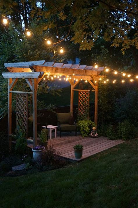 pergola string lights set  romantic mood   backyard