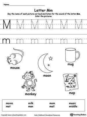 words starting with letter m msmek resources preschool