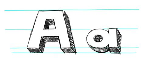 how to draw 3d letters p uppercase p and lowercase p in how to draw 3d letters a uppercase a and lowercase a in 71177