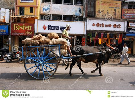 indian cart indian cart with a bull on the street editorial