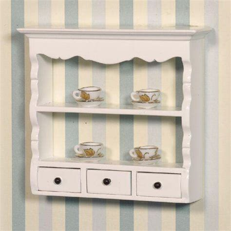 White Wall Shelf Unit by The Dolls House Emporium White Wall Shelf Unit
