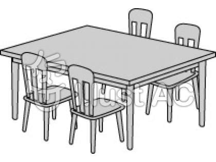 dining table with food clipart black and white 家具ダイニングセット モノクロイラスト 無料イラストなら イラストac