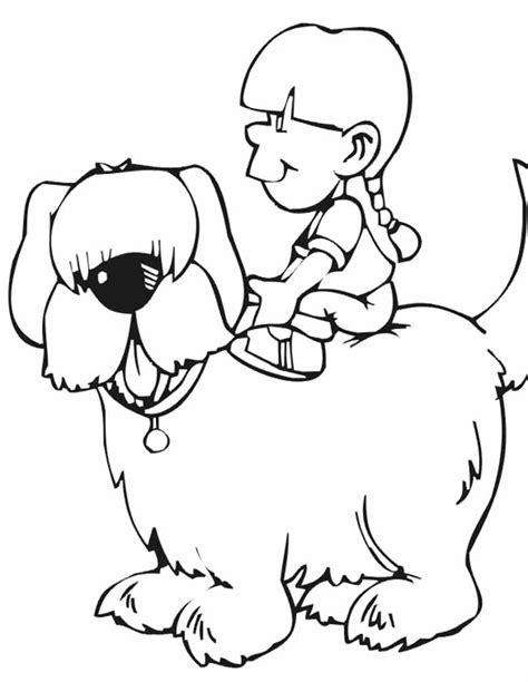 Kleurplaat Boomer Hondje by Kleuren Nu Lief Meisje Rijd Op Hond Kleurplaten