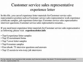 Customer service sales representative experience letter for Customer service representative experience
