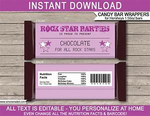 templates for candy bar wrappers - rock star hershey candy bar wrappers personalized candy bars