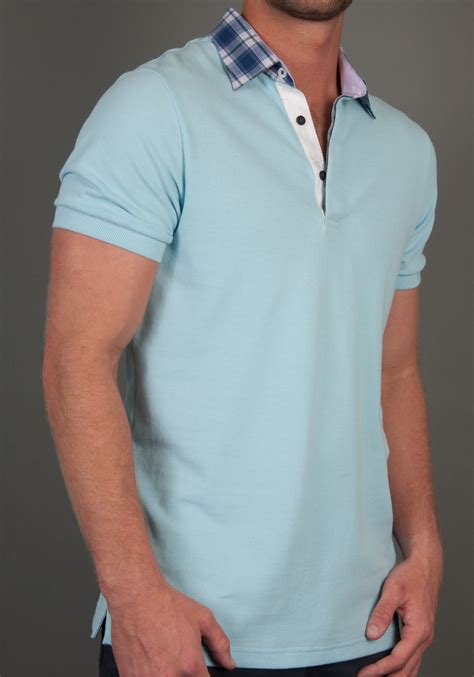 mens polo shirts  pastel blue polo shirt fitted body