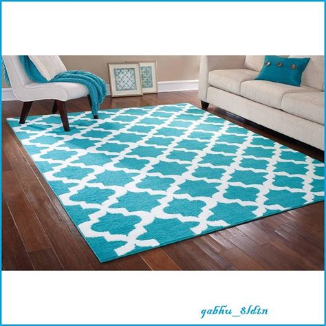 Teal Rug Walmart by New Teal White Area Rug Carpet Trellis 7 5 Quot X 9 5 Quot Lattice