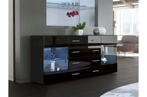 armoire chambre noir laqué meuble buffet moderne noir 2 portes en verre