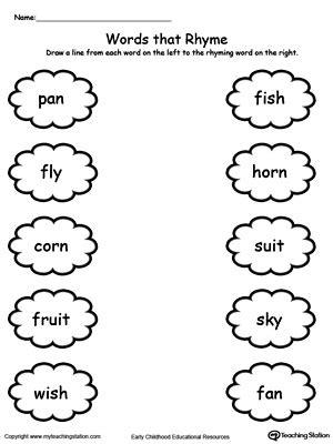 Kindergarten Rhyming Printable Worksheets Myteachingstationcom