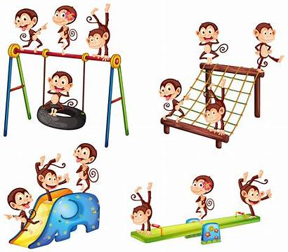 Playground Monkey Playing Clipart Vecteezy Vector