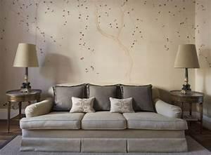 Wohnzimmergestaltung Mit Tapeten : muster tapeten wohnzimmer beige polsterdofa chinesische bl ten wand decoration pinterest ~ Sanjose-hotels-ca.com Haus und Dekorationen