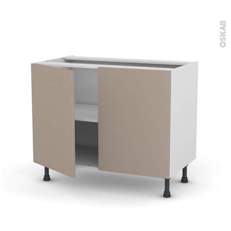 meuble de cuisine sous 233 vier ginko taupe 2 portes l100 x h70 x p58 cm oskab